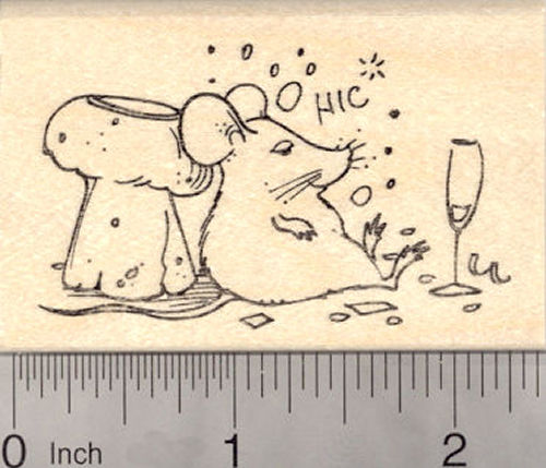 Happy New Year Mouse drinking Champagne Rubber Stamp