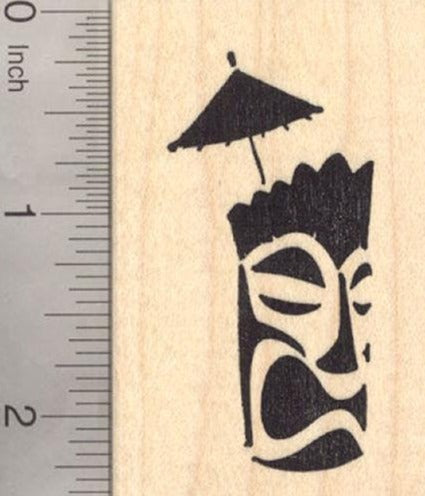 Tiki Mask Drink Rubber Stamp, Silhouette