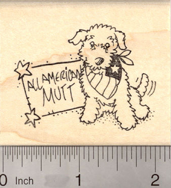 All American Mutt, 4th of July Dog Rubber Stamp