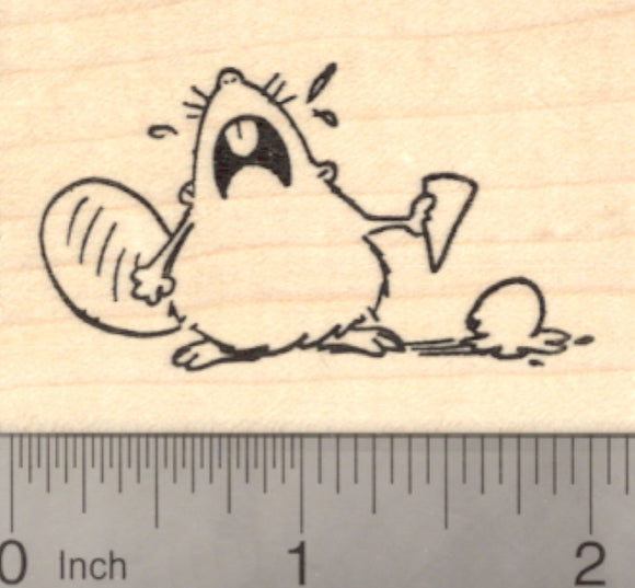 Beaver Crying over Ice Cream Rubber Stamp, Sympathy
