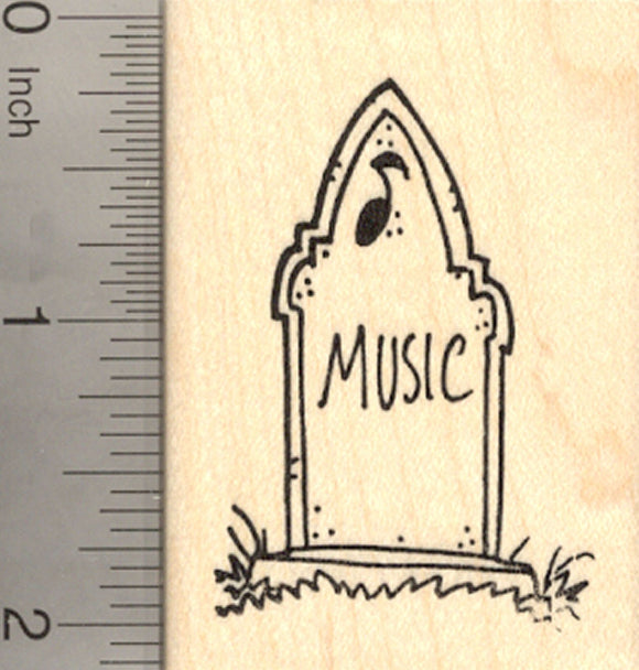 Halloween Tombstone Rubber Stamp, with Gravestone Epitaph for Music