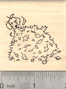 Beagle Dog Rubber Stamp, in Autumn Leaf Pile