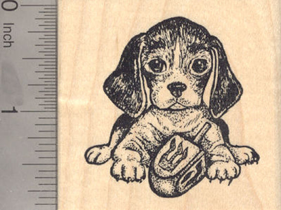 Hanukkah Beagle Rubber Stamp, Dog with Dreidel