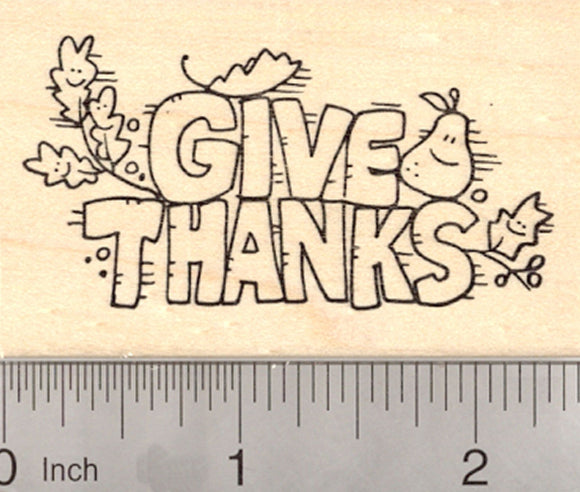 Thanksgiving Rubber Stamp, Give Thanks