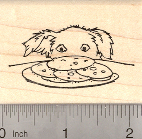 Border Collie Dog with Cookies Rubber Stamp, or Shepherd Mix (semi-prick ears)