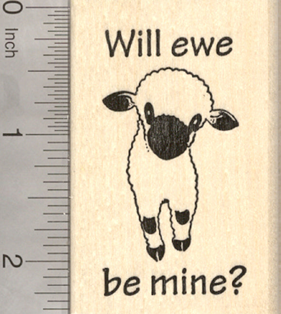 Valentines Day Valais Blacknose Sheep Rubber Stamp, Will Ewe Be Mine?