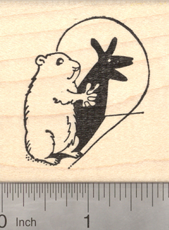Groundhog Day Rubber Stamp, Making Shadow Puppets, Woodchuck, Marmot