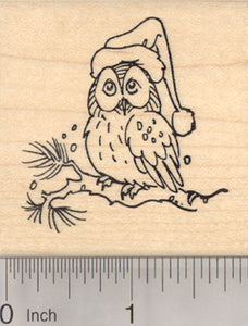 Christmas Owl Rubber Stamp, in Santa Hat