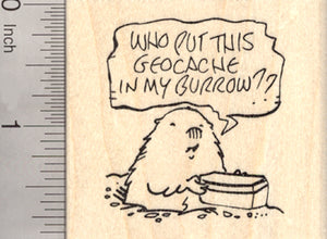 Geocaching Groundhog Rubber Stamp, Cache in Burrow