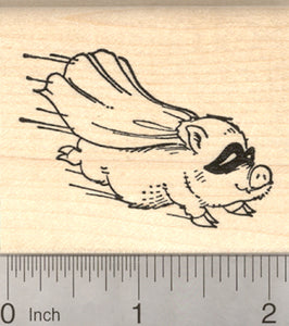 Flying Pig Rubber Stamp, Super Hero with Cape