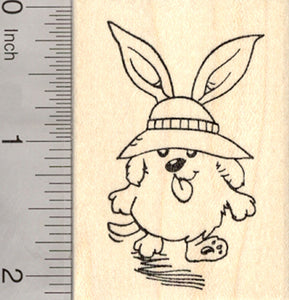 Easter Dog Rubber Stamp, Cute Puppy in Bonnet and Ears