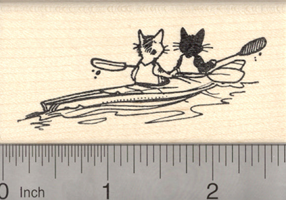 Cats in Kayak Rubber Stamp, Black Cat and Tabby