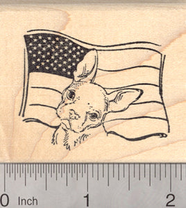 French Bulldog July 4th Rubber Stamp, Dog with American Flag