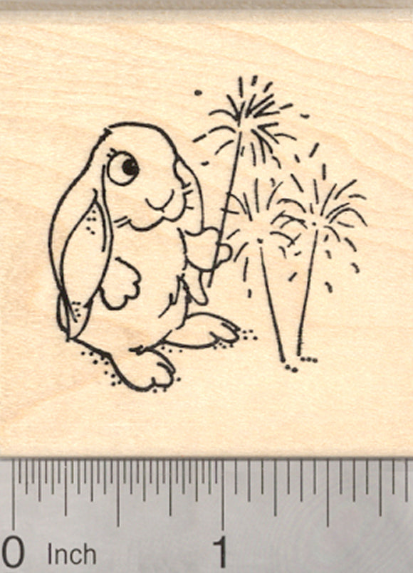 Rabbit July 4th Rubber Stamp, Independence Day Fireworks, Bunny with Sparklers