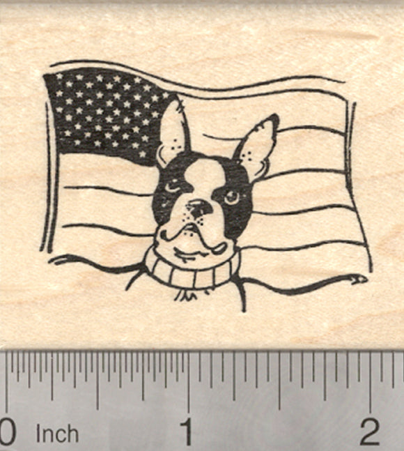 Boston Terrier Dog Rubber Stamp, 4th of July, American Flag