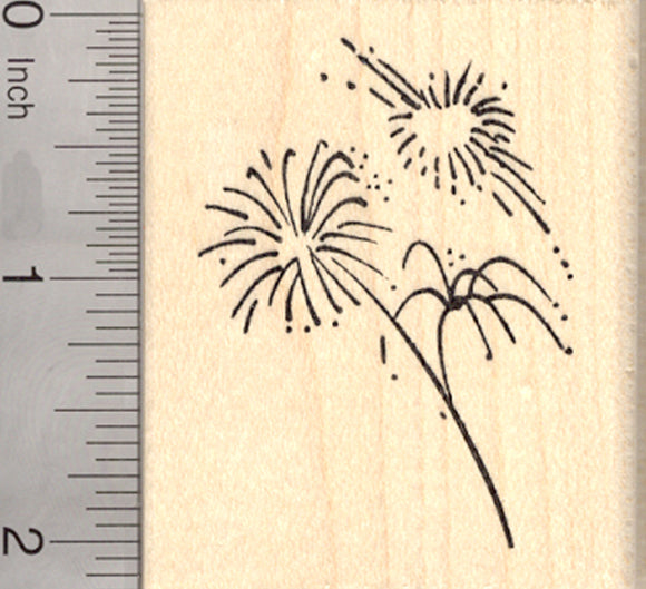 4th of July Fireworks Rubber Stamp, American Independence Day