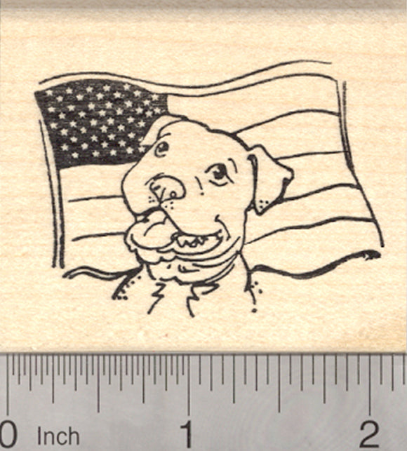 Pitbull Rubber Stamp, Dog with American Flag