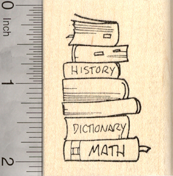 School Textbook Rubber Stamp, Stack of Academic Books