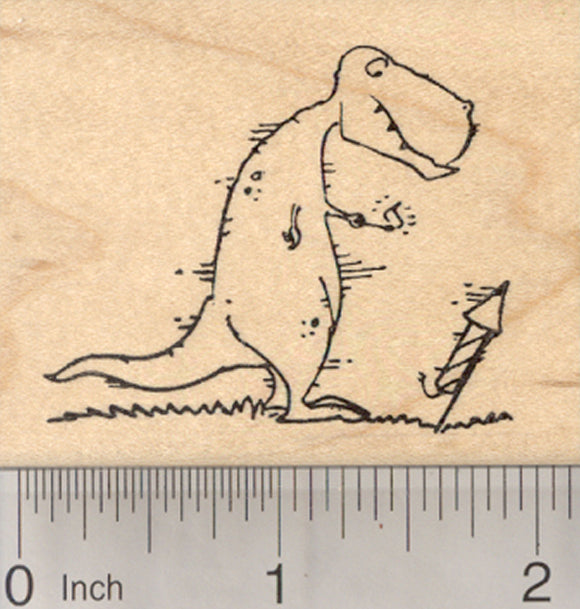 Tyrannosaurus Rex Dinosaur Rubber Stamp, with Fire Cracker, 4th of July