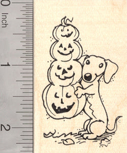 Halloween Dachshund Dog Rubber Stamp, with Long Jack-O-Lantern