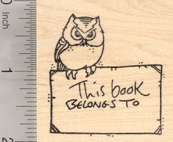 Owl Bookplate Rubber Stamp, This book belongs to, ex libris