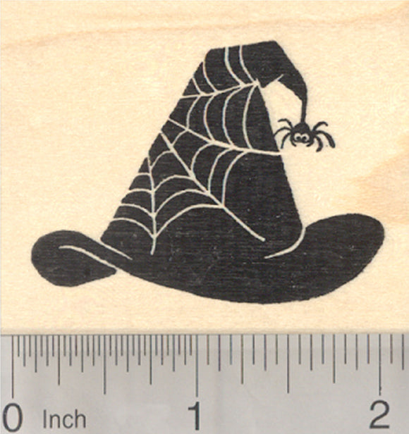 Halloween Witch Hat Rubber Stamp, Spider Web Design