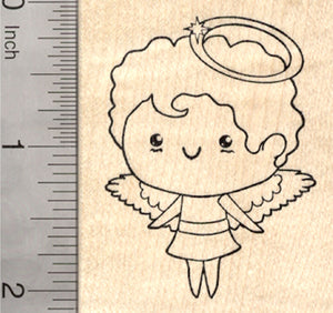 Angel Rubber Stamp, with Halo and Wings