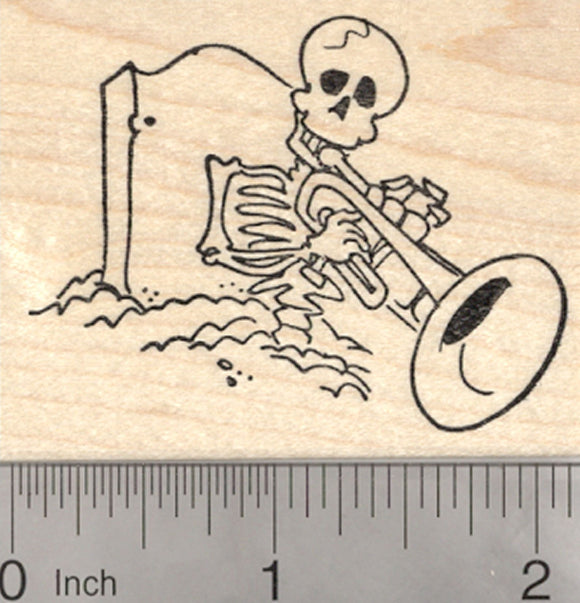 Skeleton Rubber Stamp, Playing Jazz Trumpet from his Grave, Day of the Dead, Halloween, Día de Muertos