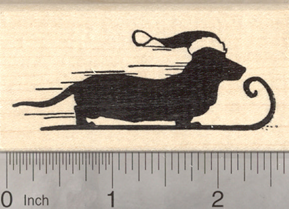 Christmas Dachshund Rubber Stamp, Wiener Dog on Winter Sled