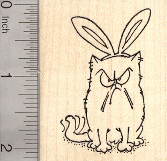 Easter Grumpy Cat Rubber Stamp, with Bunny Ears