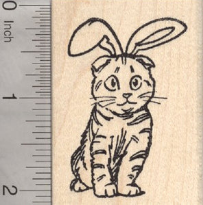 Easter Cat Rubber Stamp, Scottish Fold Ears