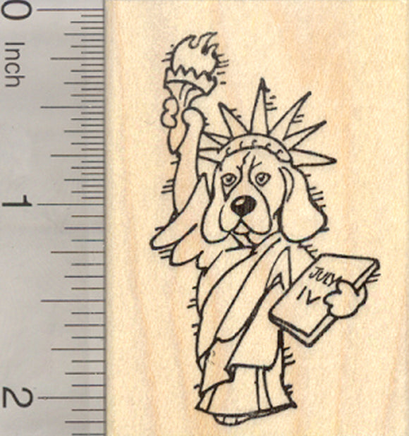 4th of July Beagle Rubber Stamp, as Lady Liberty, Statue