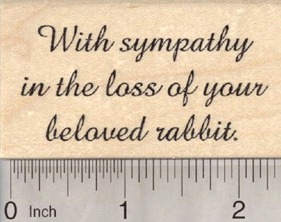 Sympathy Pet Loss Rubber Stamp, for beloved rabbit
