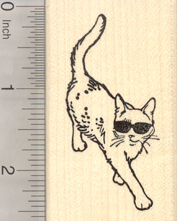 Cat in Sunglasses Rubber Stamp