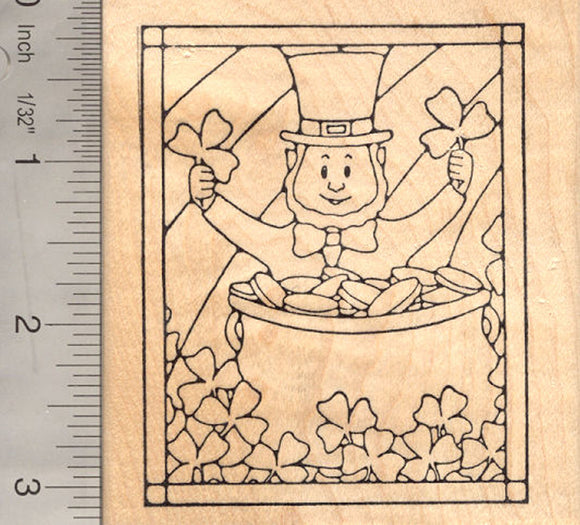 St. Patrick's Day Gold Rubber Stamp, Stained Glass Style