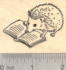 Reading Hedgehog Rubber Stamp