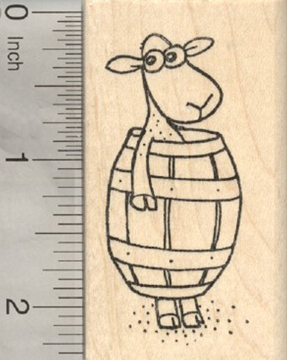 Shorn Sheep Rubber Stamp, in Barrel