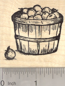 Bushel of Apples Rubber Stamp, Apple Picking Basket