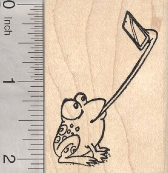 Frog Selfie Rubber Stamp, with Cell Phone