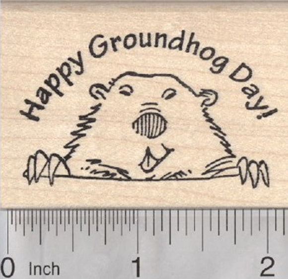 Happy Groundhog Day Rubber Stamp