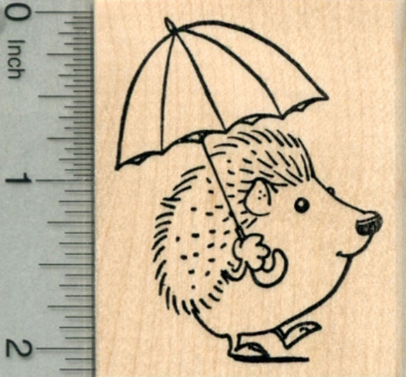 Hedgehog with Umbrella Rubber Stamp, Spring Showers Series