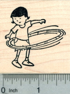Child Hula Hoop Rubber Stamp, Active Children Series