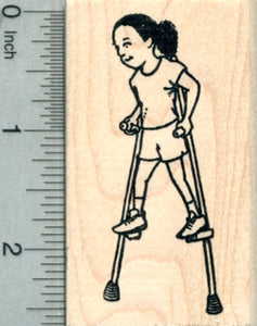 Girl on Stilts Rubber Stamp, Active Child Series