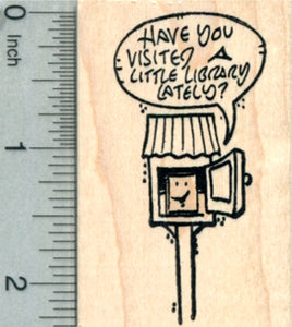 Little Library Rubber Stamp, Friendly Face