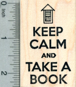 Little Library Rubber Stamp, Keep Calm and Take a book