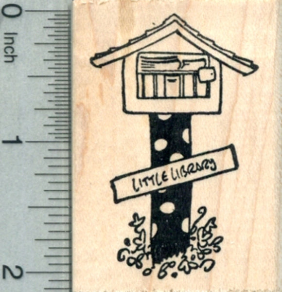 Little Library Rubber Stamp, Polka Dots