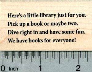 Little Library Poem Rubber Stamp, We have books for everyone