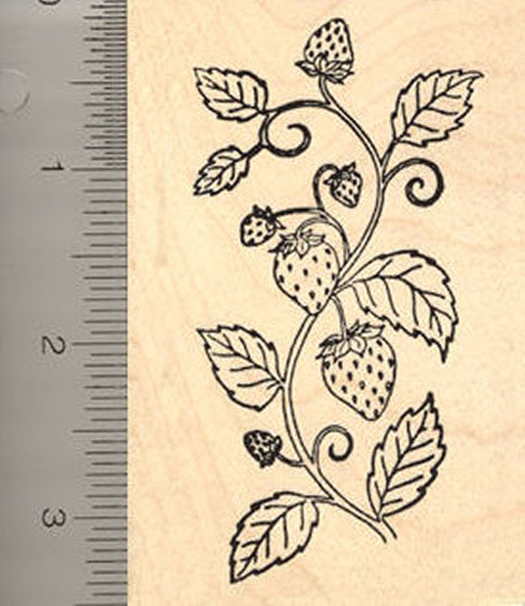 Strawberry Plant Rubber Stamp, Strawberries and Leaves