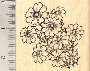 Cosmos Flower Rubber Stamp, Flowering Plant