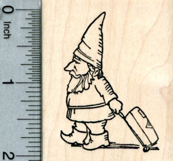 Traveling Gnome Rubber Stamp, Pulling Luggage